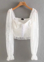 Lace Crop Blouse in White