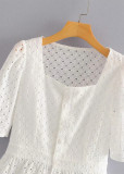 Embroidered Eyelet Top in White