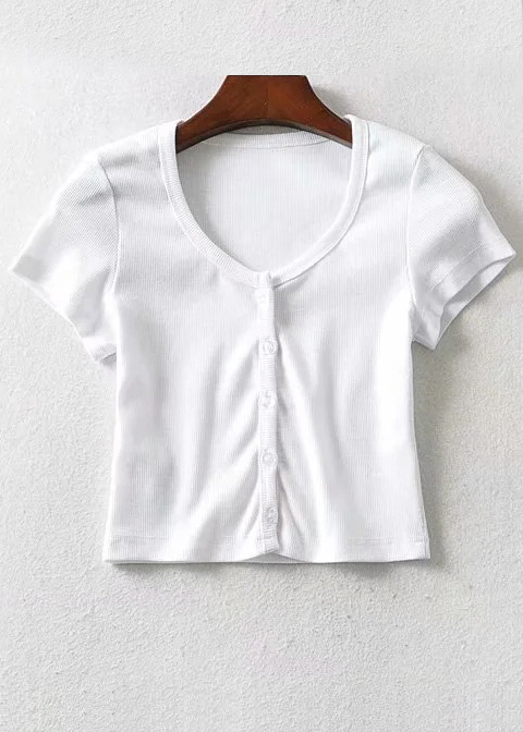 Button Front Crop Top ( in 3 Colors )