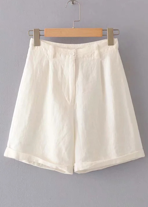 High Waisted Shorts in White