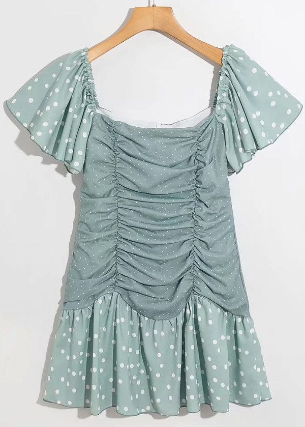 Ruffle Detail Short Dress in Green Dot
