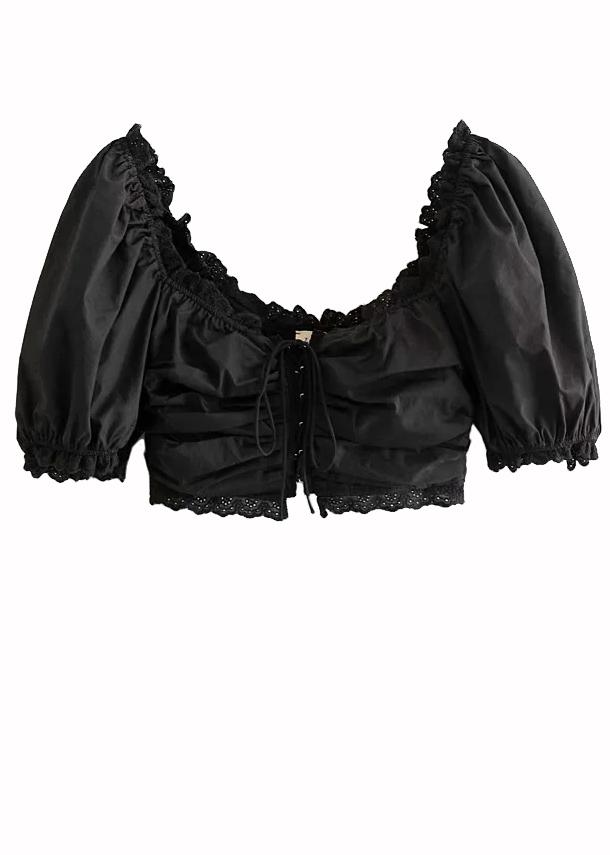 Puff Sleeve Crop Top in Black
