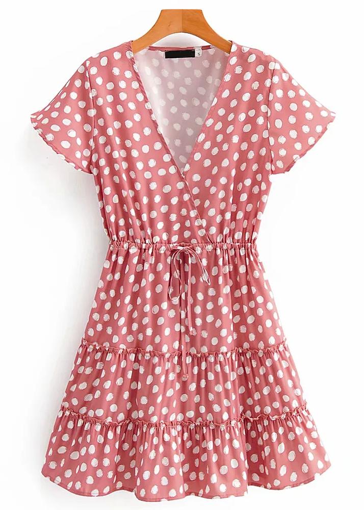 Short Dress in Pink Dot