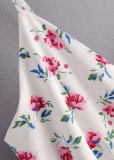 Mini Dress in White Floral