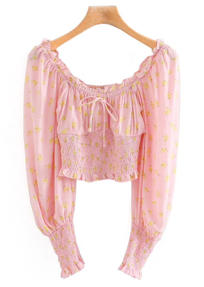 Long Sleeve Crop Blouse in Pink Floral