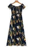 Off Shoulder Maxi Dress in Navy Floral