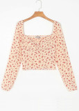 Smocked Back Crop Blouse in Apricot Floral