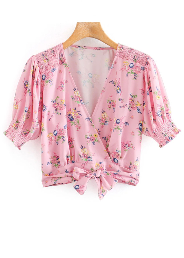 Crop Blouse in Pink Floral