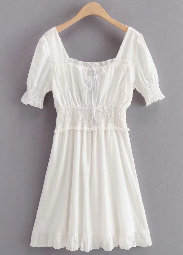 Tie Back Texture Dress in White