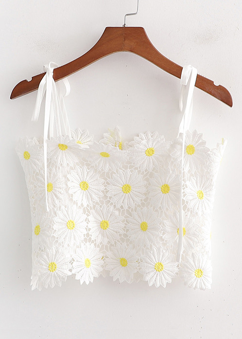 Embroidered Lace Top in White