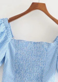 Puff Sleeve Crop Top in Blue Gingham