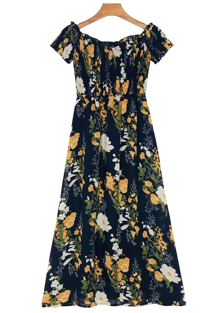 Off Shoulder Maxi Dress in Navy Floral