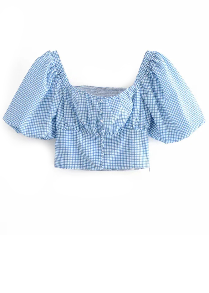 Puff Sleeve Crop Top in Blue Gingham