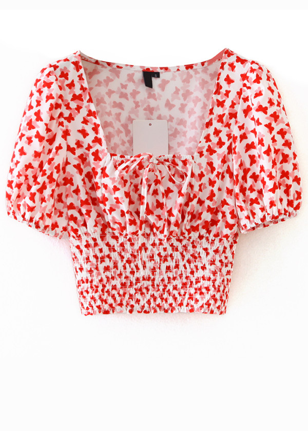 Smocked Waist Floral Crop Blouse