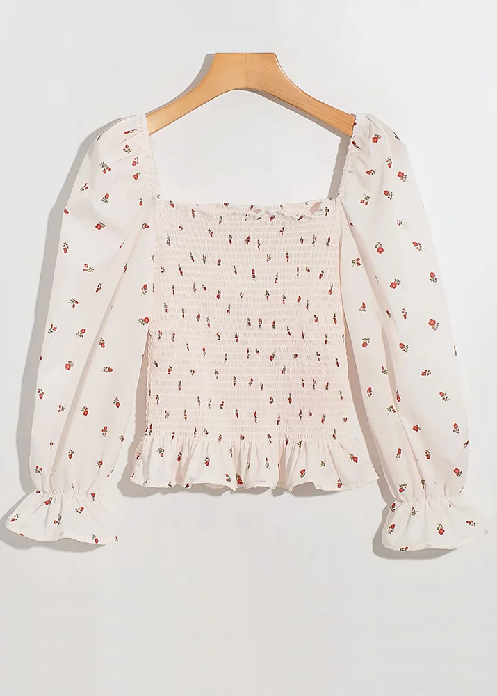 Smock Blouse in Cream Floral