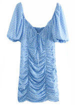 Ruffle Dress in Blue Dot