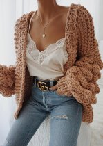 Oversize Balloon Sleeve Knit Cardigan
