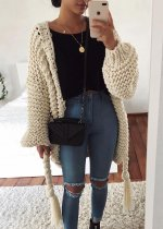 Fringed Tie Front Knit Cardigan ( in 3 Colors )