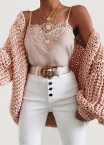 Balloon Sleeve Knit Cardigan