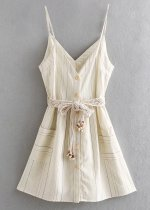 Belted Slip Dress in Beige