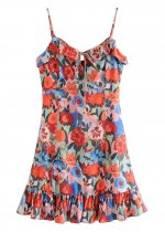 Flounce Hem Detail Floral Slip Dress