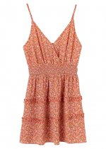 Frill Mini Dress in Coral Floral
