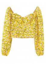Long Sleeve Blouse in Yellow Floral