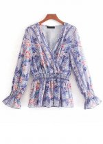 Long Sleeves Floral Blouse