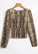 Long Sleeves Crop Blouse in Snake