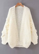 Pom Pom Detail Knit Cardigan ( in 2 Colors )