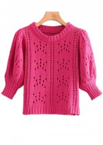 Hollow-Out Sweater in Fuchsia