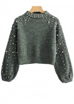 Pearl Detail Crop Sweater ( in 2 Colors )