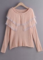 Draped Overlay Detail Sweater in Blush