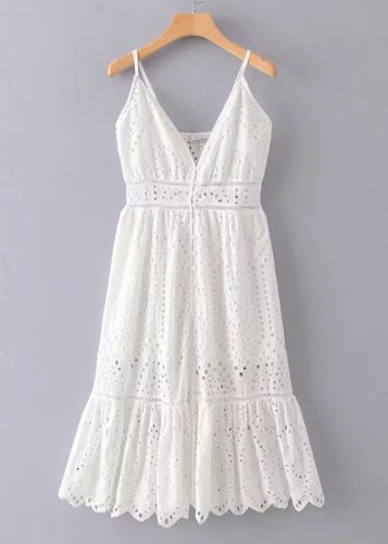 de7a3c62f Embroidered Eyelet Midi Dress in White | DISHEE