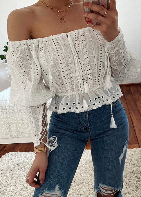 Embroidered Eyelet Crop Blouse in White