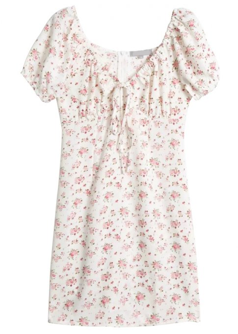 Short Sleeves Floral Dress ( in 2 Colors )