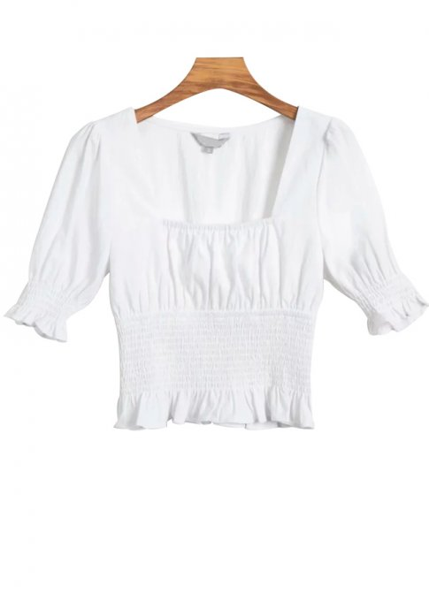 Smock Waist Crop Top in White