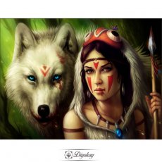 Diamond Painting - Woman and wolf