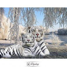 Diamond Painting - Two white tigers