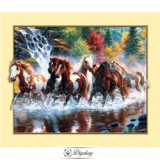 Diamond Painting - a group of galloping horses