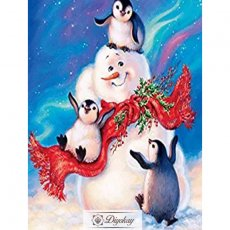 diamond painting - Penguin and snowman
