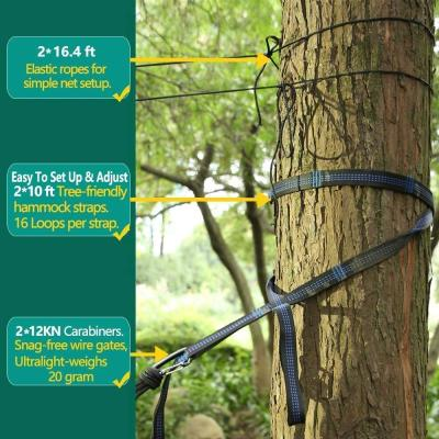 Sunyear Camping Hammock with Mosquito/Bug Net, 10ft Hammock Tree Straps & Carabiners   Easy Assembly   Portable Parachute Nylon Hammock for Camping, Backpacking, Survival, Travel & More ( 78 inch x 118 inch )