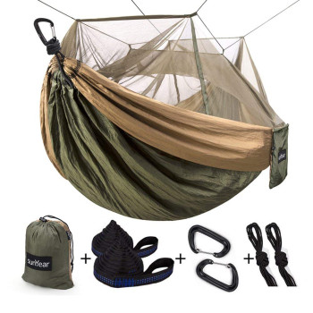 Camping Hammock with Mosquito/Bug Net, 10ft Hammock Tree Straps & Carabiners | Easy Assembly | Portable Parachute Nylon Hammock for Camping, Backpacking, Survival, Travel & More