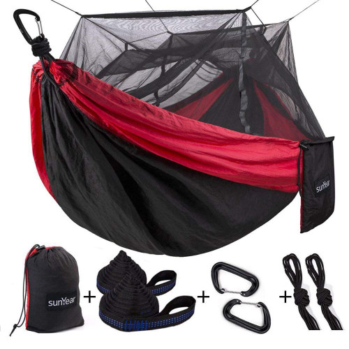 Sunyear Camping Hammock with Mosquito/Bug Net, 10ft Hammock Tree Straps & Carabiners | Easy Assembly | Portable Parachute Nylon Hammock for Camping, Backpacking, Survival, Travel & More ( 55 inch x 106 inch )