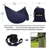 Portable Camping Hammock with Tree Straps and Carabiner Clips – Upgraded Nylon Parachute Hammock with Heavy-Duty Tensile Strength Supports Up to 600 Lbs for Hiking Backpacking and Travel