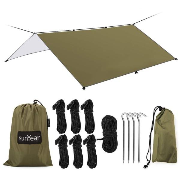 Sunyear Hammock Rain Fly Tent Tarp Provides Effective Protection Against Rain, Snow. Big 9.8x9.5ft Durable, Waterproof 210D Oxford. 13ft Long Ridgeline, 6 Guy Lines, 2 Stuff Sacks. Easy Assembly