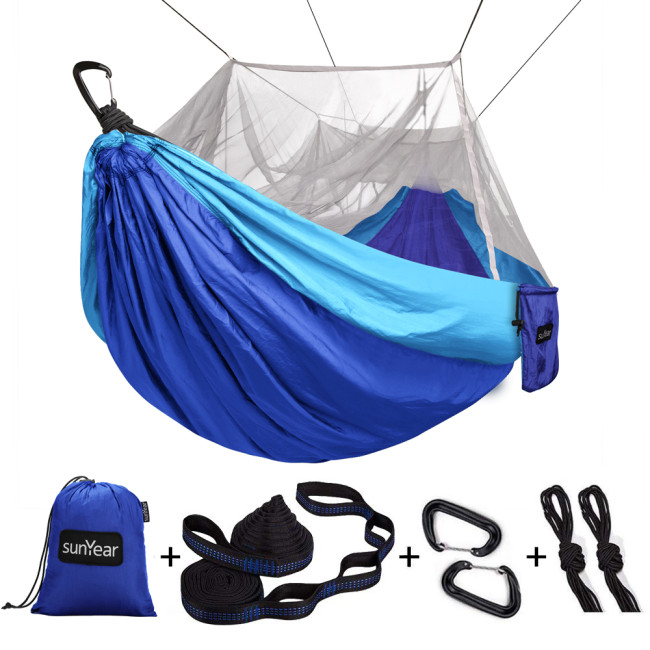 Sunyear Camping Hammock with Mosquito/Bug Net, 10ft Hammock Tree Straps & Carabiners | Easy Assembly | Portable Parachute Nylon Hammock for Camping, Backpacking, Survival, Travel & More ( 78 inch x 118 inch )