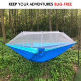 Double Camping Hammock with Mosquito/Bug Net, 10ft Hammock Tree Straps & Carabiners | Easy Assembly | Portable Parachute Nylon Hammock for Camping, Backpacking, Survival, Travel & More