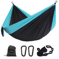 Single Hammock Camping Lightweight Portable Nylon Hammock with 2 Tree Straps (32 Loops,10 ft) & 2D-Shape Steel Carabiners-Easy to Assemble – Perfect for Camping Backpacking Hiking Travel Beach Yard