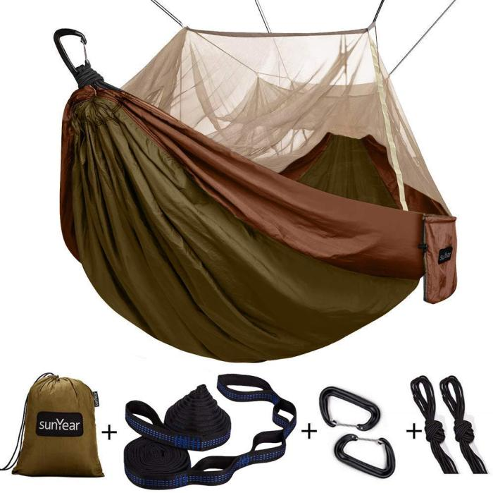 Sunyear Camping Hammock with Mosquito/Bug Net, 10ft Hammock Tree Straps & Carabiners   Easy Assembly   Portable Parachute Nylon Hammock for Camping, Backpacking, Survival, Travel & More ( 55 inch x 106 inch )